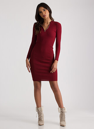 Zip It Good Hooded Rib Knit Dress