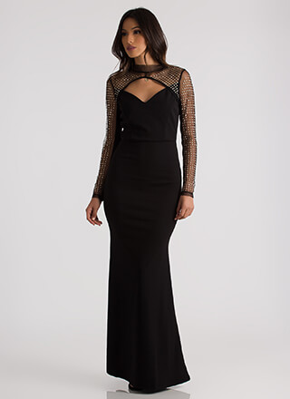 Star-Studded Event Mesh Top Mermaid Gown