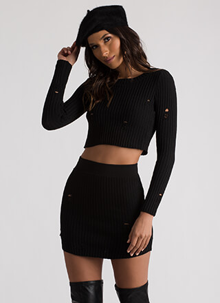 Hit A Snag Rib Knit Crop Top And Skirt Set