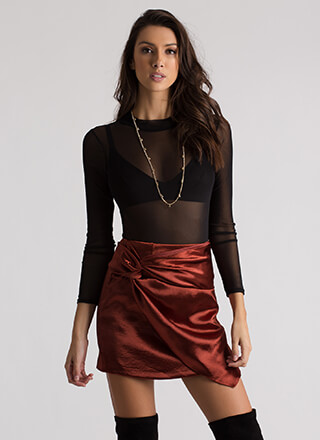 Knot My Intention Satin Faux Wrap Skirt