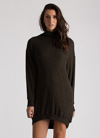You're Getting Warm Ribbed Sweater Dress