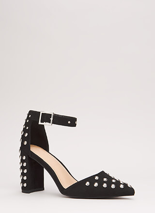 Stud Study Pointy Ankle Strap Heels