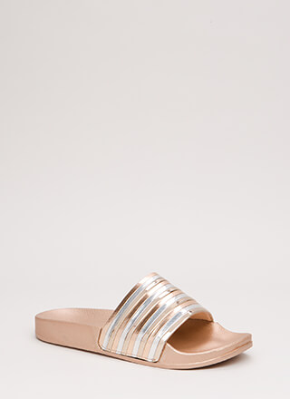 Stack Up To Be Striped Slide Sandals
