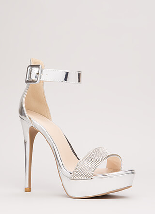 Twinkle Toes Strappy Faux Patent Heels
