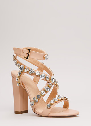 Gem Power Strappy Faux Jewel Heels