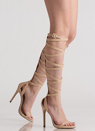 Strap Me In Faux Leather Gladiator Heels