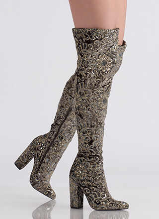 Floral Threads Sequined Thigh-High Boots