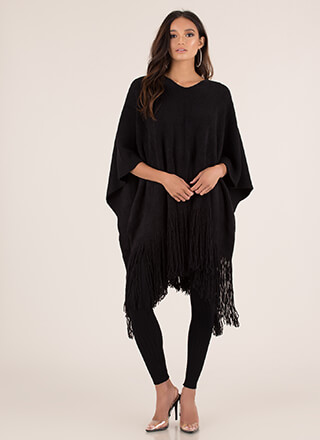 Fringe Fan Knit Poncho Sweater