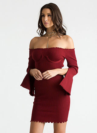 Bust Out Ribbed Off-Shoulder Dress
