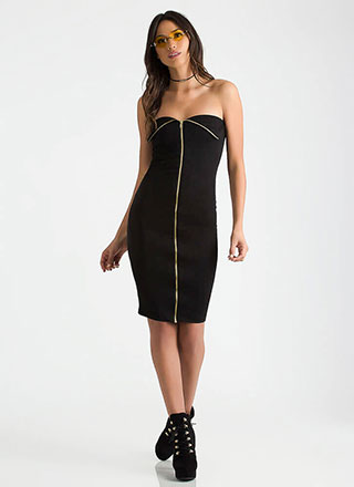 Better Undone Strapless Zipper Dress