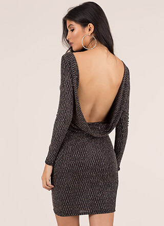 Got Glitter Draped Open Back Dress