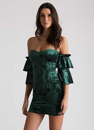 Royal Ruffles Velvet Off-Shoulder Dress