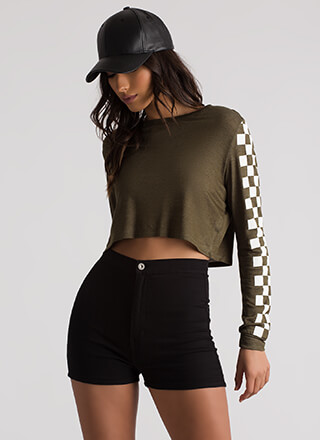 Checked Out Racer Graphic Crop Top