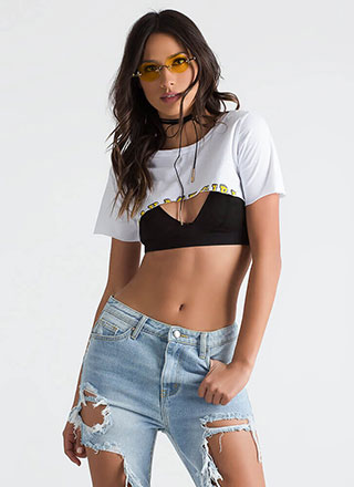 Savage Girl Cut Graphic Crop Top