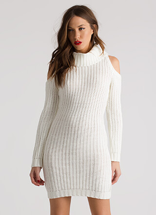 In From The Cold Shoulder Sweater Dress