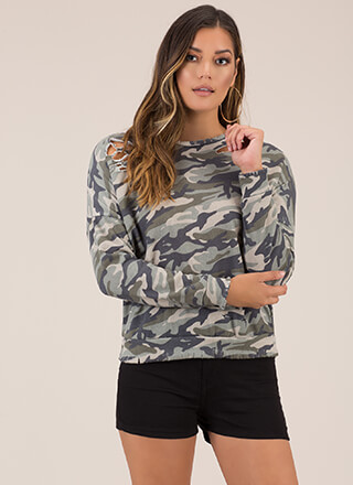 See Me Now Distressed Camo Sweatshirt