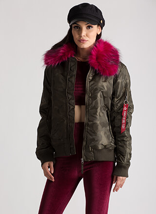 Ready Fur Takeoff Collared Bomber Jacket