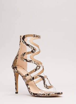 Wave To Me Faux Snake Illusion Heels