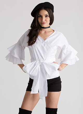 Tie It Again Ruffled Wrapped Blouse