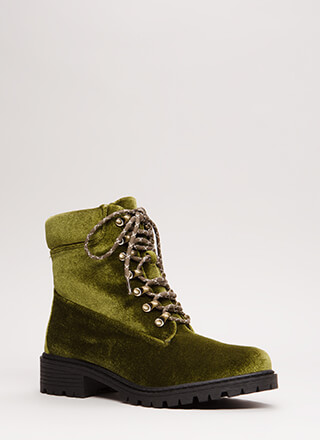 Fight Club Velvet Lug Sole Combat Boots