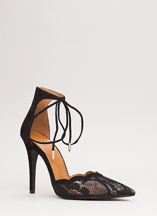 A Little Tied Up Pointy Lace Heels