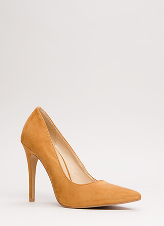 Power Suit Pointy Faux Suede Pumps