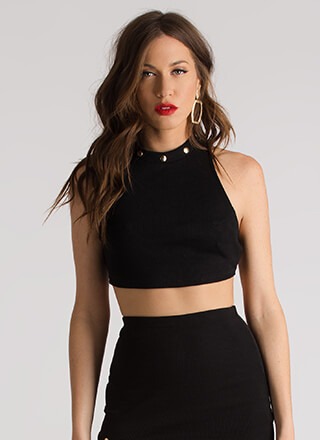 Hey Stud Knit Caged Back Crop Top