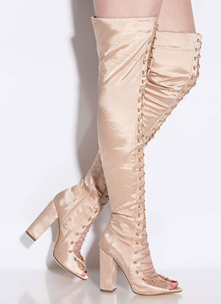 Special In Satin Lace-Up Thigh-High Boots