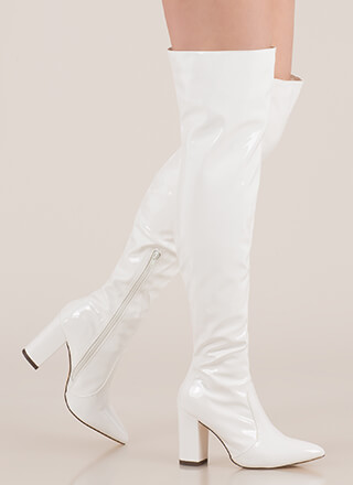Slick Burn Faux Patent Thigh-High Boots