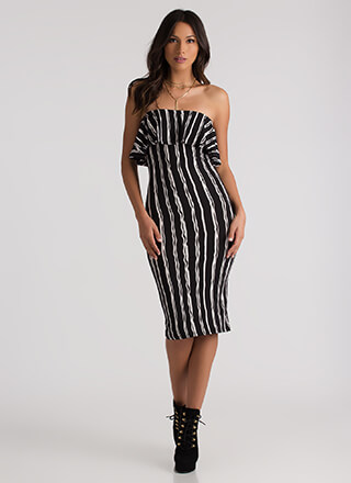 Figure Drawing Strapless Striped Dress