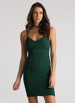 Glam In Glitter Strappy Textured Dress