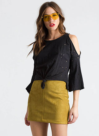 Hole Thing Knotted Cold-Shoulder Top