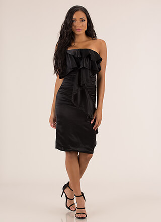 Cascading Ruffle Strapless Satin Dress