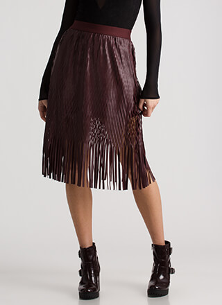 Basket Case Fringed Faux Leather Skirt