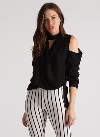 Hot And Cold-Shoulder High-Low Blouse