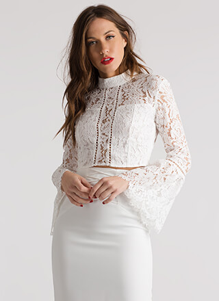 Ring My Bell Sleeve Cropped Lace Blouse