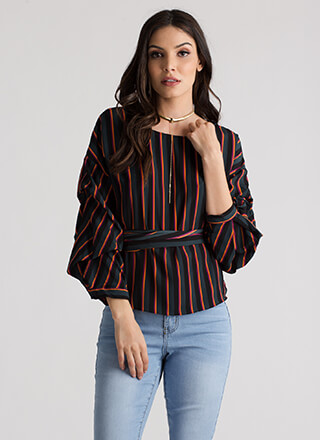 Staying Striped Puffy Wrapped Blouse