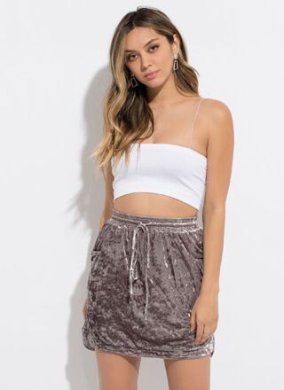 Crushed It Velvet Drawstring Skirt