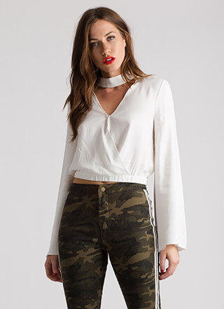 Ring My Bell Sleeve Cropped Choker Top
