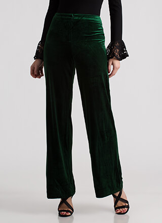 Velvet Holiday Wide High-Waisted Pants