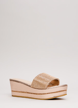 Better Jeweled Metallic Wedge Sandals