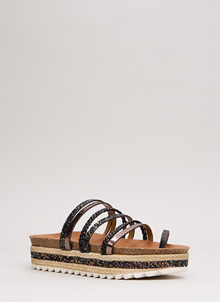Straps Galore Platform Slide Sandals