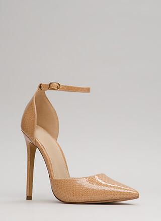 Scaled Back Pointy Faux Patent Heels