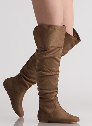 Slouch On Faux Suede Thigh-High Boots