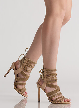 Lucky 13 Strappy Jeweled Lace-Back Heels