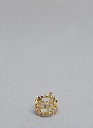 Fashion Royalty Caged Cross Charm Ring
