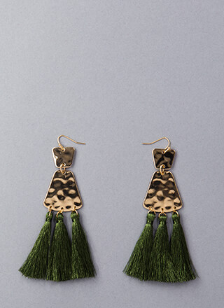 Getting Hammered Tassel Earrings
