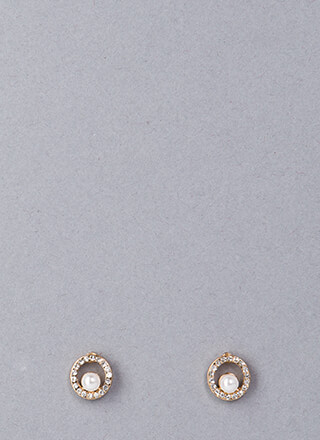 Ring Me Up Jeweled Faux Pearl Earrings