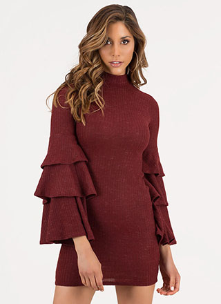 Tiering Up Ribbed Ruffle Sleeve Dress