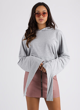 Coming Undone Tied Back Cropped Hoodie